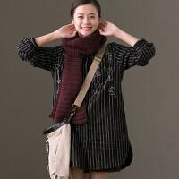 预售 C7278B 通勤文艺3D刺绣显瘦竖条纹中长款加厚棉衬衫女冬 米可可