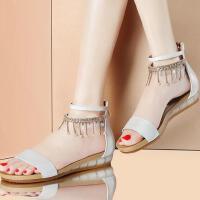 古奇天伦凉鞋女夏平底韩国学生罗马夏季新款百搭韩版波西米亚平跟鞋子8383