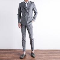 新薄款条纹潮流男士休闲西装男韩版修身小西服时尚英伦风青年外套