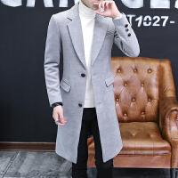 秋冬季男士中长款呢大衣发型师韩版潮流呢料外套青年帅气修身风衣