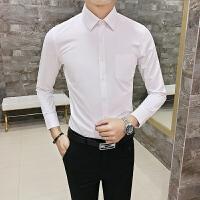 韩版修身简约百搭版男士长袖衬衣西装搭配衬衫餐厅酒吧ktv工作服S