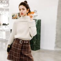 七格格高领毛衣女新款宽松韩版学生加厚慵懒风套头针织衫冬季