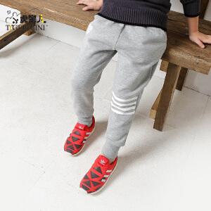 【年货节 满200减110】小虎宝儿童装男童运动裤子春秋4-5-6岁儿童拉绒长裤2018春款新品