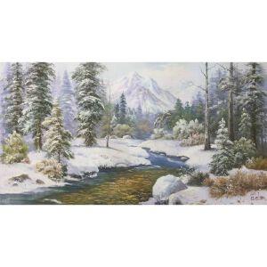 朝鲜油画 一级画家 申元浩《冰雪冬日》【大千艺术品】