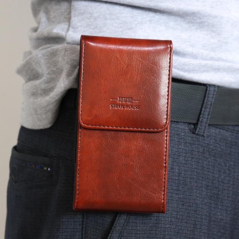 苹果手机包竖款通用华为手机挂腰皮套穿皮带男士腰包小米手机腰包男款红米超薄款opop防摔外套保护壳套子 中号棕色 4.8到5.4寸通用