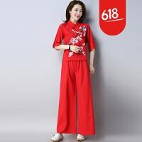 2018新款民族风女装棉麻T恤中国风刺绣上衣阔腿裤两件套复古套装GH117