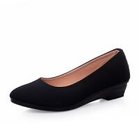 老北京布鞋女单鞋酒店工装鞋低跟坡跟软底防滑舒适上班黑色工作鞋 黑色