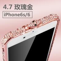 新款苹果7plus水钻手机壳女款iphonex镶钻金属边框xs max奢华带钻保护框xr防摔套6s网
