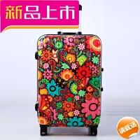 涂鸦拉杆箱个性旅行箱万向轮登机箱铝框行李箱学生密码箱包女 花色 涂鸦花