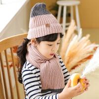 秋冬儿童帽子围巾两件套宝宝针织毛线帽女童男童套头帽中小童