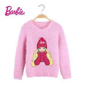 【满200减110】芭比童装女童冬装毛衣粉色套头女宝宝圆领长袖毛线衣
