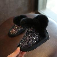 冬季新款中小童棉鞋 真皮兔毛1-6岁公主棉靴加厚保暖女童雪地靴