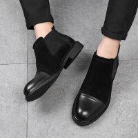 马丁靴男英伦风中帮男靴子韩版潮流百搭潮高帮黑色切尔西靴短靴夏 黑色
