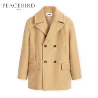 【2件2.5折】太平鸟男装 冬季新款卡其色羊毛呢短大衣男挺阔双排扣外套男
