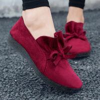 女鞋春秋新款妈妈鞋单鞋软底豆豆鞋老北京舒适布鞋工作鞋 红色 291偏小一码