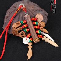 红绳五色线挂件护身桃木枝桃木棍宝宝工艺礼品挂件