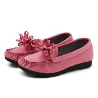 春秋老北京布鞋女鞋平跟平底单鞋休闲黑色工作鞋孕妇妈妈鞋豆豆鞋 粉色 700