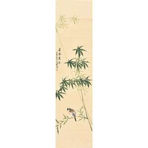 河南美术家协会会员许鲁四尺对裁花鸟画gh04910