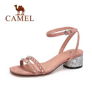 camel骆驼女鞋 时尚简约夏季女凉鞋 铆钉粗跟优雅细带凉鞋