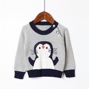 全织时代男童毛衣0-3岁男宝宝圆领套头针织衫小童韩版纯棉打底衫