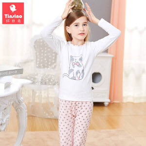 【1件3折价:50.7】纤丝鸟(TINSINO)儿童精梳棉内衣套装女童卡通印花家居服中大童睡衣睡裤