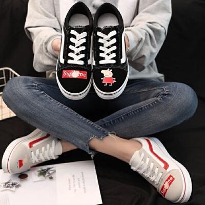 帆布鞋女学生韩版百搭2019春季新款百搭平底白鞋复古港风板鞋