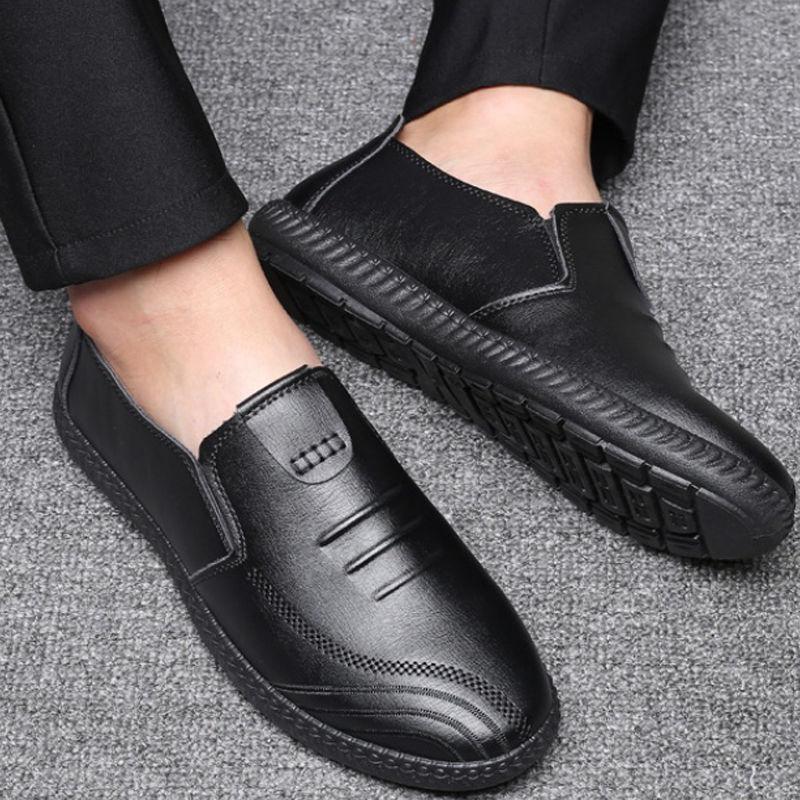 防水休闲皮鞋男士休闲鞋豆豆鞋厨房鞋工作鞋子男爸爸鞋开车鞋  42 尺码偏小