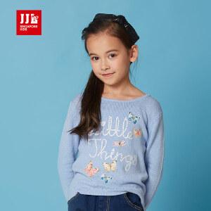 jjlkids季季乐童装女童毛衣套头2017春新款女童卡通可爱毛衣长袖GCM61037