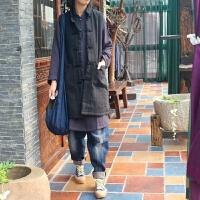 原创复古文艺棉麻女装中长款盘扣中国风中式亚麻棉衣马夹背心外套GH025 旧黑 预10.22 均码