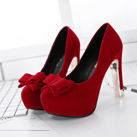 新款超高跟细跟单鞋防水台圆头蝴蝶结公主婚鞋浅口粗跟高跟女鞋春