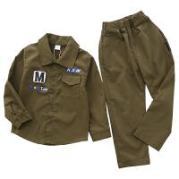 开衫长袖套装百搭两件套秋季军绿色