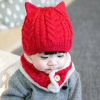 开柚 新款加绒加厚里布儿童帽子围巾两件套 冬季防寒冻护耳保暖宝宝帽