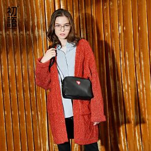 初语 2017秋冬季新款 文艺雪花纱宽松针织开衫女中长款外搭外套