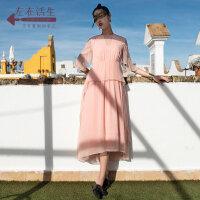 生活在左春夏季女装新品真丝蚕桑丝中袖连衣裙女文艺清新绣花裙子