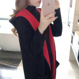 卡茗语2017春装新款韩版学生外套春季中长款连帽毛针织宽松风衣百搭女潮