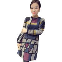 慈颜韩版宽松圆领长袖格子连衣裙长袖套头孕妇裙YLYM8211