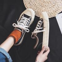 2019春夏新款帆布鞋女学生时尚板鞋百搭饼干鞋透气火网红布鞋子 B839 黑色 35 女款