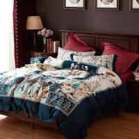 京东品牌专卖 100支全棉印花欧式贡缎四件套纯棉床单被套件1.8m床品2.0米【】