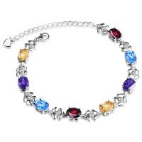 天然紫水晶托帕石榴石四叶草银手链女简约个性甜美生日礼物