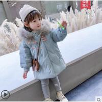 新款外套宝宝大毛领 儿童中长款羽绒服女童洋气汉服中国风保暖外套