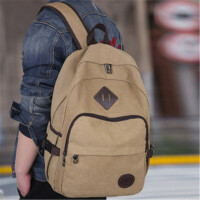 茉蒂菲莉 双肩包 男士休闲帆布背包大容量旅游旅行包中大学生书包复古潮流包