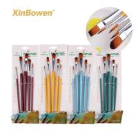 5支多头尼龙毛油画笔套装 水彩丙烯笔刷 美术绘画工具