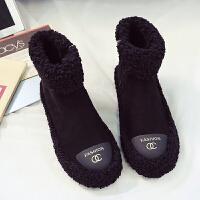 冬季短筒雪地靴女加棉可爱甜美毛毛鞋学院风毛线口马丁靴加绒棉鞋