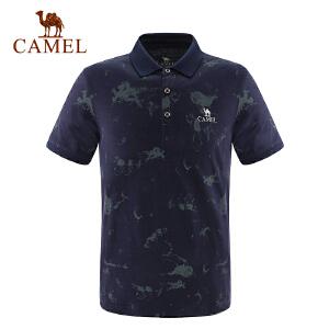 camel骆驼户外男款休闲翻领T恤 春夏男士时尚舒适短袖T男