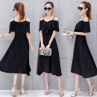 新款女装时尚潮荷叶袖露肩吊带连衣裙女 韩版中长款雪纺连衣裙气质显瘦黑色裙子长裙
