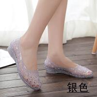 女士塑料凉鞋水晶透明平底2019新夏季女鞋镂空水晶鞋塑料凉鞋鸟巢洞洞鞋平底雨鞋沙滩鞋单鞋
