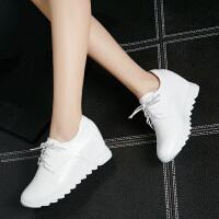 娜箐箐秋季新款系带内增高小白鞋厚底女鞋松糕运动真皮休闲鞋