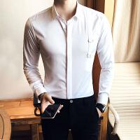 春季新款英伦韩版修身潮男长袖衬衫衣美发师理发店发廊工作服