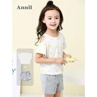 安奈儿童装女童家居服夏薄款短袖睡衣套装T恤短裤两件套EG827258