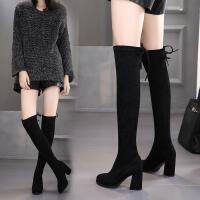 秋冬女靴高跟长筒靴尖头过膝长靴粗跟性感弹力靴高筒加绒靴子